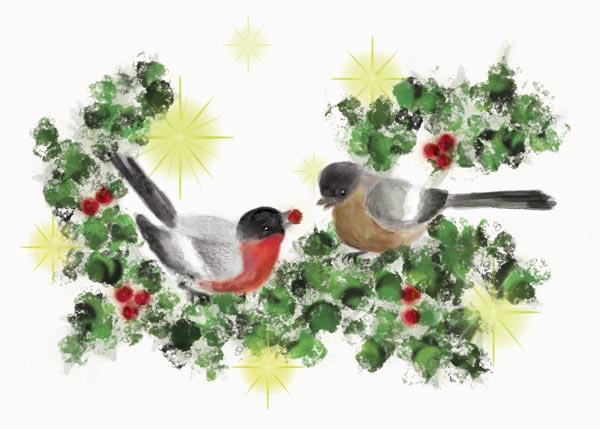 Greeting-Card-2-Bullfinches-Little-Cloud